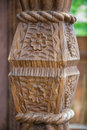 Wood carving on column door Royalty Free Stock Photo