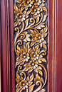 Wood Carving of Flowers and Leaves Stock Image