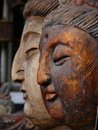 Wood carving statues Royalty Free Stock Images