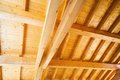 Wood ceiling under construction new house closeup of the Stock Images