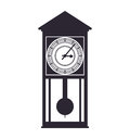 Wood clock house time traditional icon. Vector graphic