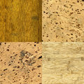 Wood and cork-board background textures Stock Photography