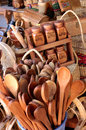 Wood crafts wooden spoons and spice sets for sale as market chillan chile Royalty Free Stock Image