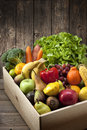 Wood crate fruit vegetables food mixed fresh and in a and background Royalty Free Stock Images