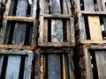 Wood crate stack layers of wooden crates in colors of blue brown skyblue yellow and grey Stock Photography