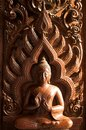 Wood crave buddha image Royalty Free Stock Photos