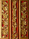 Wood crave pattern on the door in the temple at Royalty Free Stock Photography
