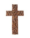 Wood cross ornate hand carved wooden on a white background Royalty Free Stock Image