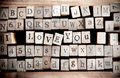 Wood cube make message i love you spelled out on a row of lettered wooden blocks with retro or vintage appearance Stock Photos