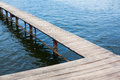 Wood dock empty and still lake Stock Photography