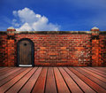 Wood door and old brick wall walluse for multipurpose Stock Photos