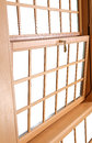 Wood double hung windows traditional american window parts the is composed of two sashes that slide up and down and tilt in for Stock Image