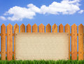 Wood fence and paper background Royalty Free Stock Images