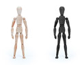 Wood figure mannequin - black and white Royalty Free Stock Photo
