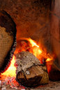 A wood fire combustion of inside the stove Stock Photo