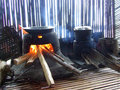 Wood fire cooking on floating house on Lake tempe Royalty Free Stock Photo