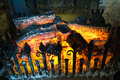 Wood fire flames charcoal embers Stock Image