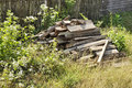 Wood Firewood Grass Garden Old Country Stock Photo