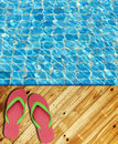 Wood Floor pool edge with surface of water Stock Photo