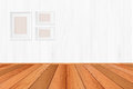 Wood floor textured pattern background in light brown color tone with empty white wall backdrop: Isolated wooden floor on white