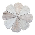Wood flower isolated on white background Royalty Free Stock Photo