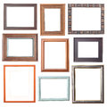 Wood frame collection on white background Stock Photography