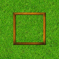 Wood frame on green grass field background Royalty Free Stock Image
