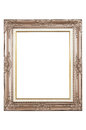 Wood frame isolated antique wooden on white background Stock Photos