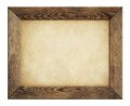 Wood frame with old paper isolated on white Royalty Free Stock Photo
