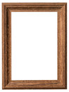 Wood frame vertical with clipping path on isolated white Royalty Free Stock Photo