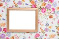 Wood frame on vintage floral background Royalty Free Stock Photo