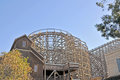 Wood framework this complex wooden supports the track system of ghostrider a popular ride at knotts berry farm Royalty Free Stock Photography