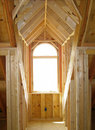 Wood framing for dormer Stock Photo