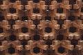 Wood geometrical pattern and dark background Royalty Free Stock Photo