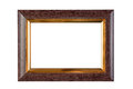 Wood and gold frame Royalty Free Stock Photo