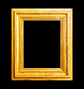 Wood gold frame isolated on black Royalty Free Stock Photo