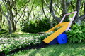 Wood handcart overturn the flower suanluang park thailand Royalty Free Stock Photo