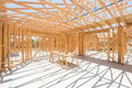 Wood Home Framing Abstract At Construction Site. Royalty Free Stock Photo