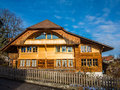 Wood house cottage or cabin in switzerland Royalty Free Stock Photo