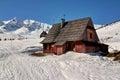 Wood hut in mountains fine polish tatra Royalty Free Stock Photos