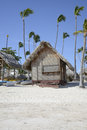 Wood hut on a tropical beach the white sand bavaro in punta cana in the dominican republic Stock Image