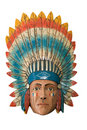 Wood Indian Chief Stock Photo