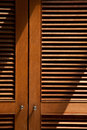 Wood jalousie door texture close up Stock Image
