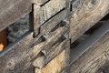Wood joint two beams of are with wooden nails Stock Photo