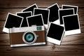 Wood klassiska gammala foto för blank kamera Arkivfoton