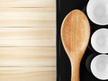 Wood  ladle decorated and wood plank Stock Image
