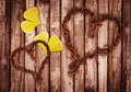 Wood and leaf hearts Royalty Free Stock Photo