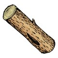 Wood log hand drawn cartoon sketch illustration of Stock Image
