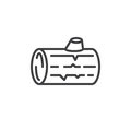 Wood log line icon, outline vector sign, linear style pictogram isolated on white. Symbol, logo illustration. Editable stroke.