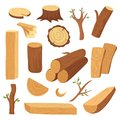 Wood log and trunk. Cartoon wooden lumber, plank. Forestry construction materials vector isolated set Royalty Free Stock Photo